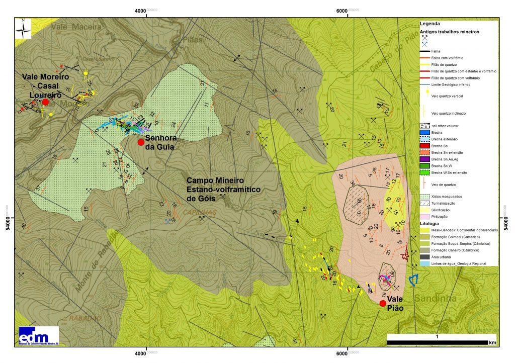 Geologia e localização das antigas minas de Sra da Guia (W) e Vale Pião (Sn-W) e setor de Vale Moreiro – Casal Loureiro