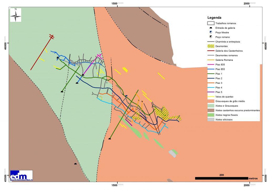Geologia e antigos trabalhos mineiros da mina da Escádia Grande